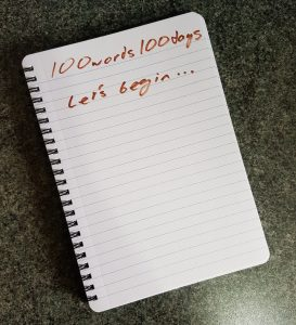 100 words, 100 days, let's begin written on notepad