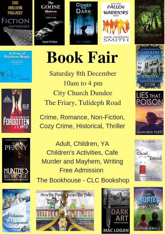 Poster for Dundee Book Fair on 8 December 2018