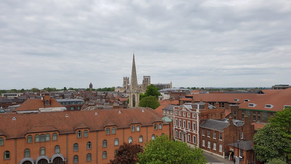 View from Cliffords Tower in York looking towards the Minster
