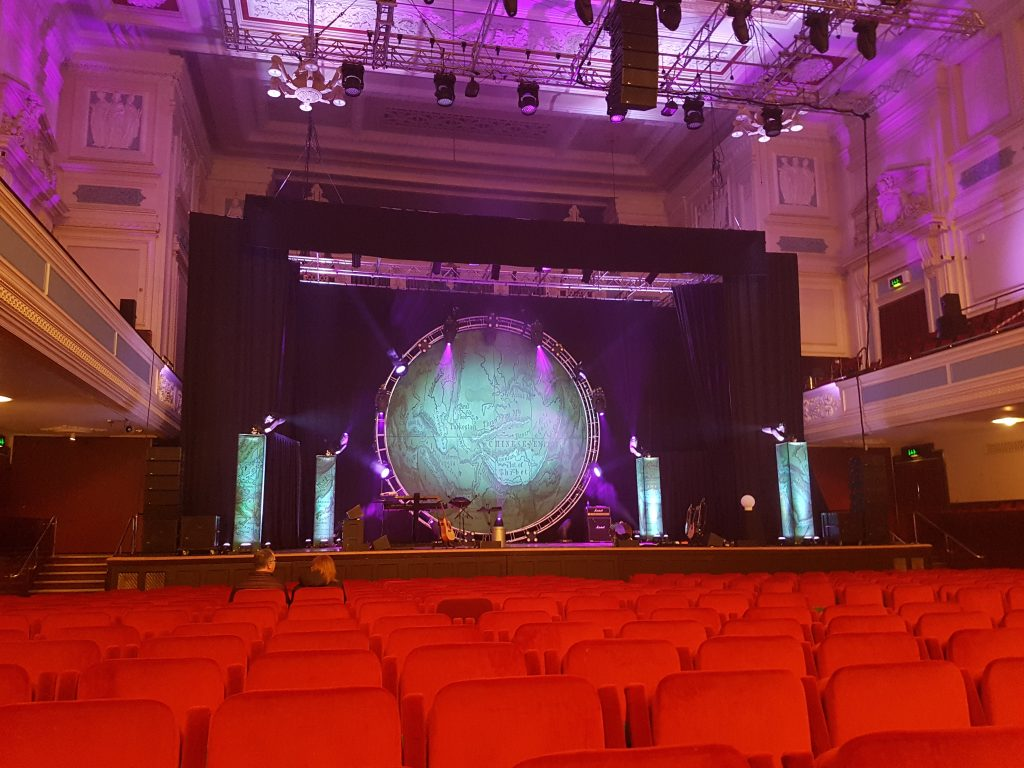 photo of the stage before Bill Bailey's Larks in Transit tour
