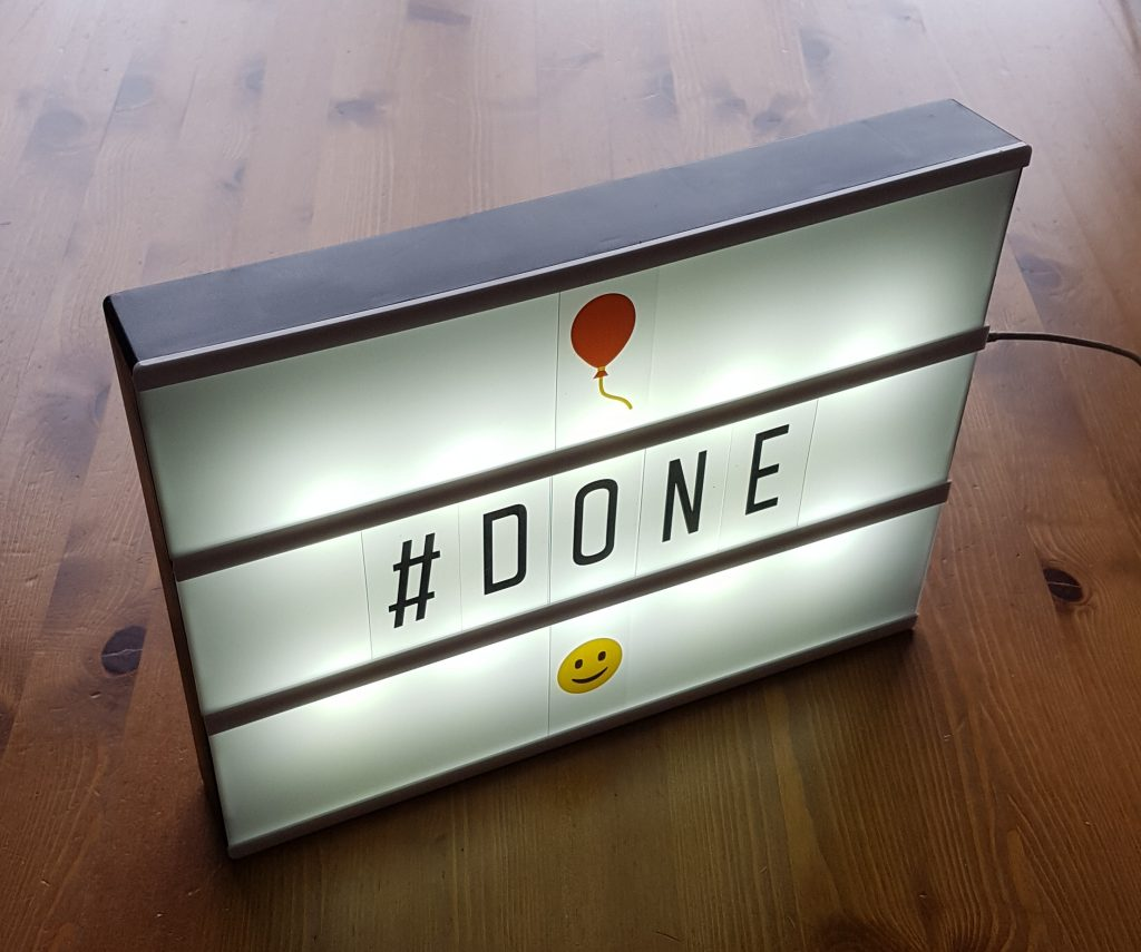 Lightbox with #done