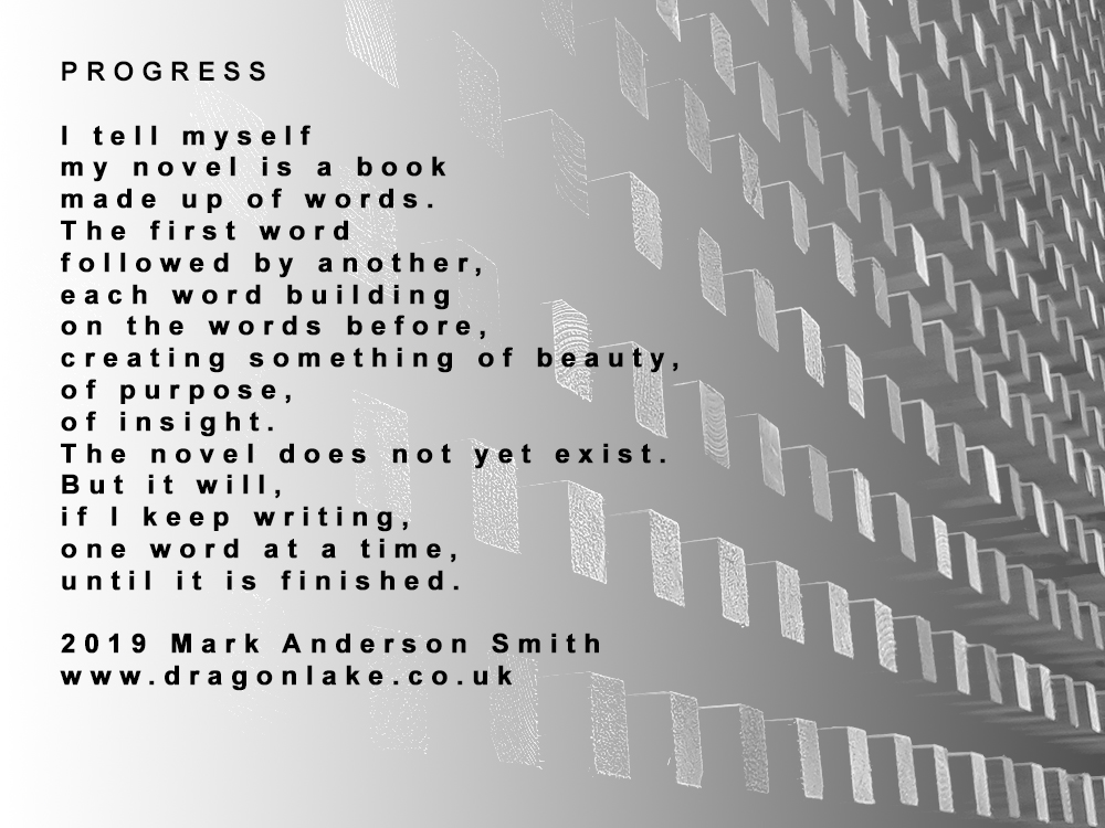 The poem Progress by Mark Anderson Smith with a greyscale background of a wooden grid